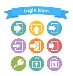 set white login icons vector image