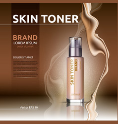 Skin toner ads cosmetics glass bottle and vector