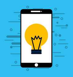 smartphone with light bulb isolated icon vector image
