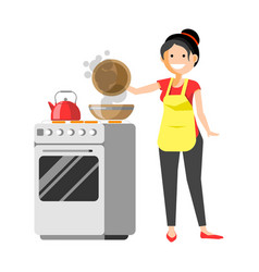 Smiling housewife standing near cooker prepares vector