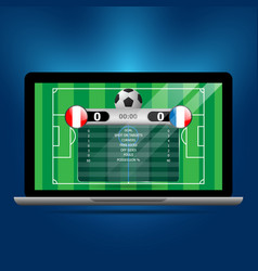 soccer statistics board on laptop vector image