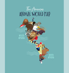 South north america continent animal map concept vector