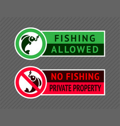 Sticker set no fishing or fishing allowed vector