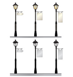 Street lamp set retro street lights with a sign vector