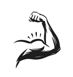 Strong muscle arm power symbol vector