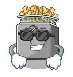 Super cool character deep fryer on restaurant vector