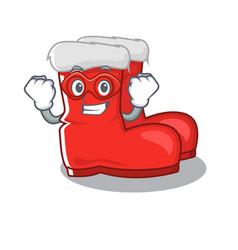 Super hero santa boots on cartoon shoe rack vector