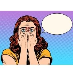 Surprised shocked woman vector image