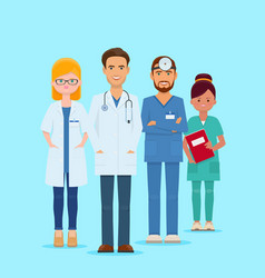 Team smiling doctors and nurses vector