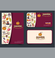 Thanksgiving concept set of a flyer and business vector
