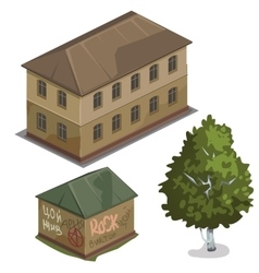 Two classic house and one green tree city vector image
