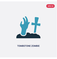 two color tombstone zombie hand icon from other vector image