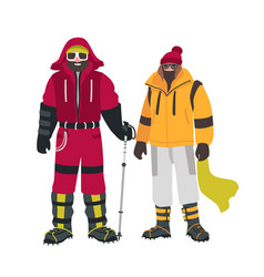 Two smiling climbers or alpinists with special vector