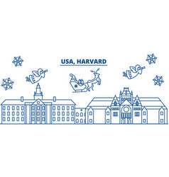 usa massachusetts harvard winter city skyline vector image