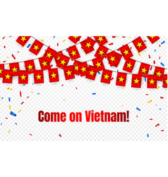 vietnam garland flag with confetti on transparent vector image