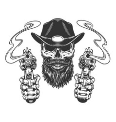vintage bearded and mustached sheriff skull vector image