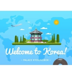Welcome to Korea poster with famous attraction vector