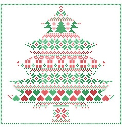 winter pattern in Christmas tree shape in red and vector image