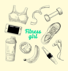 woman healthy lifestyle hand drawn fitness vector image