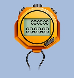Yellow stopwatch with rope vector image