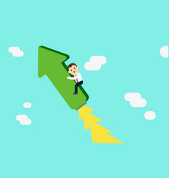 Young businessman riding on raised graph with jet vector