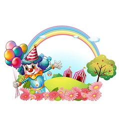 A female clown at the hill with a rainbow vector image
