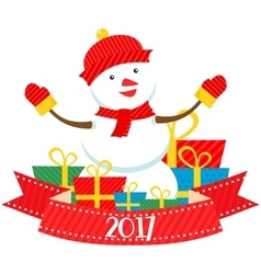 flat snowman 2017 vector image