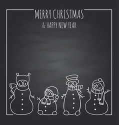 funny snowmen on a black board vector image