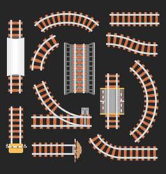 rail or railroad railway top view vector image