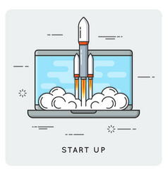 start up flat thin line concept vector image