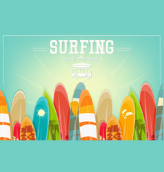 surfing retro poster vector image vector image