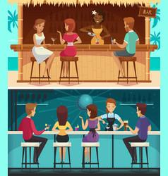 beach bar and evening bar horizontal banners vector image