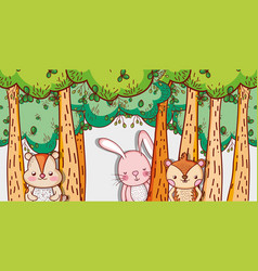 cute animals in forest cartoons vector image