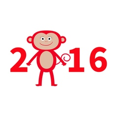 Cute monkey New Year 2016 Baby Greeting card vector image vector image
