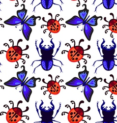 ladybug butterfly and beetle seamless pattern vector image vector image
