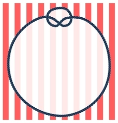 Round navy blue rope frame with a knot on striped vector