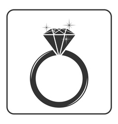 Diamond engagement ring icon vector image vector image