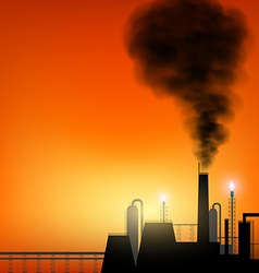 Factory with chimneys and smoke on sunset vector image
