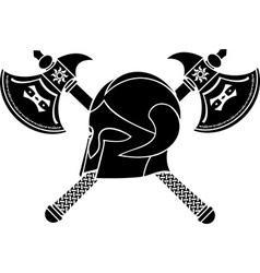 fantasy helmet with axes stencil vector image vector image