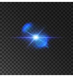 Flickering blue light flash of shining star vector image