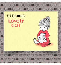 Girl with a cat vector image