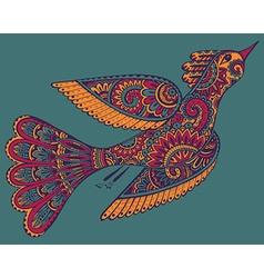 hand drawn of ornamental fancy bird vector image