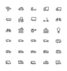 Vehicles Line Icons 1 vector image vector image