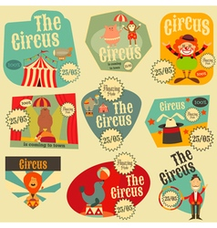 Circus Entertainment Labels Retro Set vector image