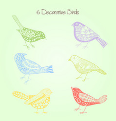 decorative birds set of six with elements vector image vector image