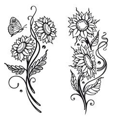 Sun flowers set vector