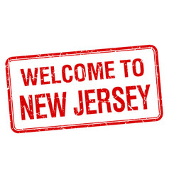 welcome to new jersey red grunge square stamp vector image vector image