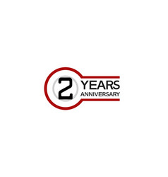 2 years anniversary with circle outline red color vector
