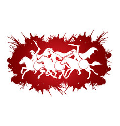3 spartan warriors riding horses with weapon sword vector