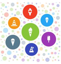 7 cone icons vector